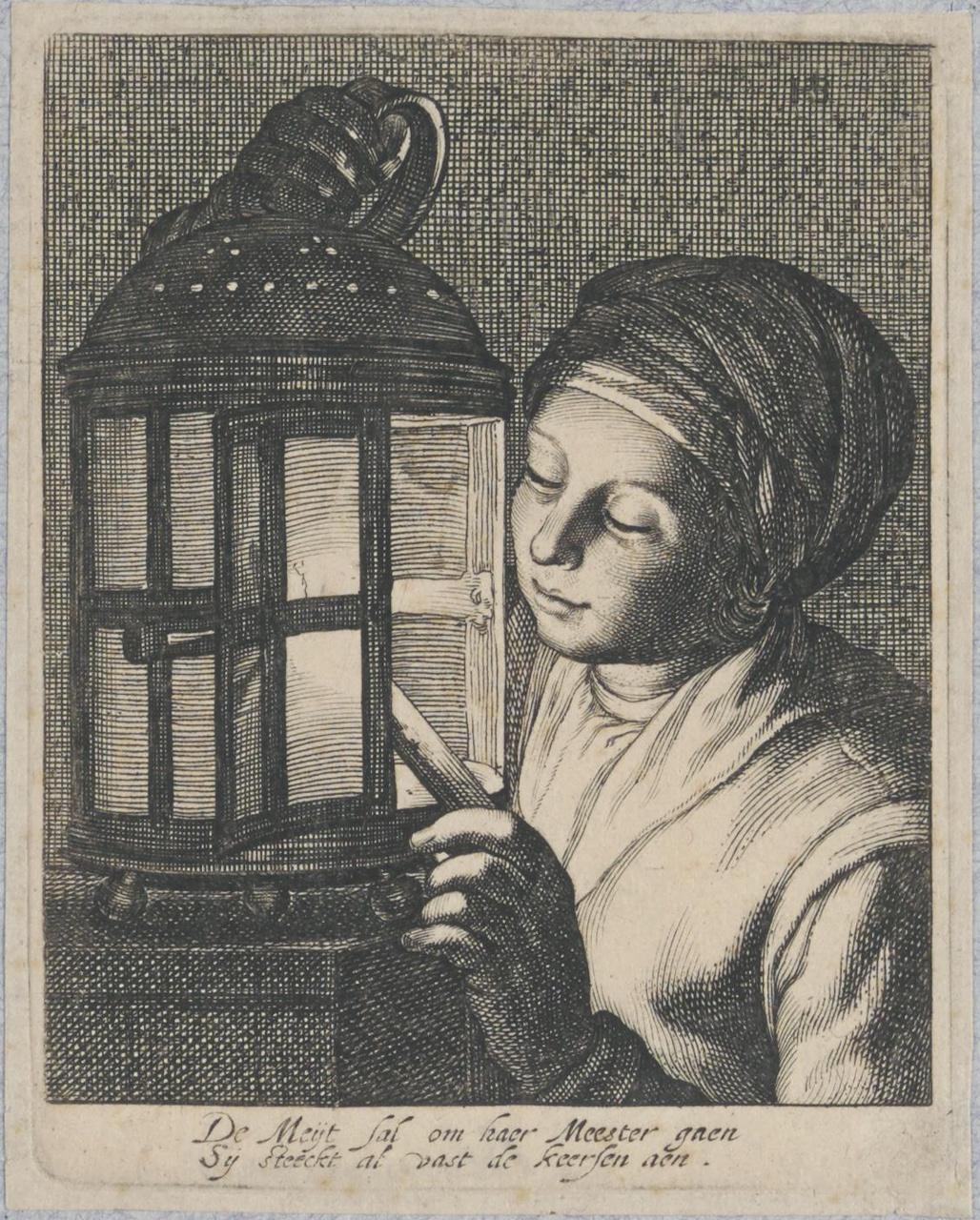Dienstmeisje, een lantaarn aanstekend