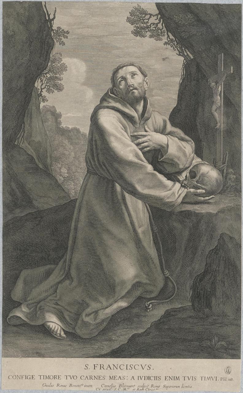 Heilige Franciscus biddend in de woestijn