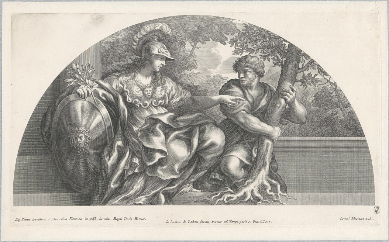 Pallas Athene en een dienaar bij een olijfboom