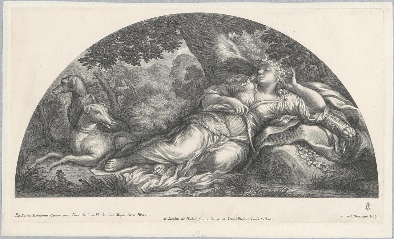 Diana met twee jachthonden