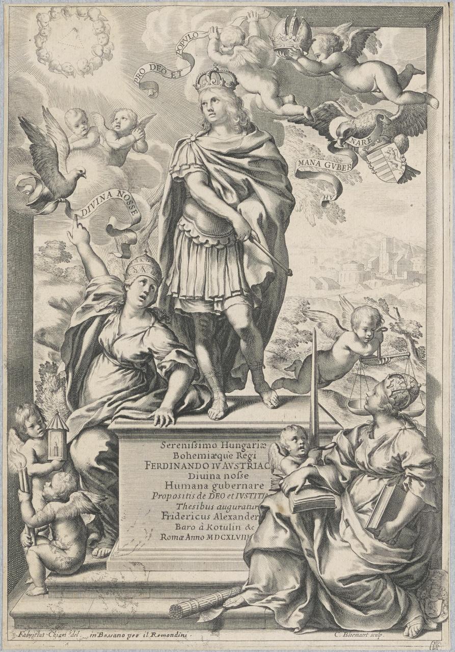 Allegorisch portret van Ferdinand IV van Oostenrijk (titelblad?)