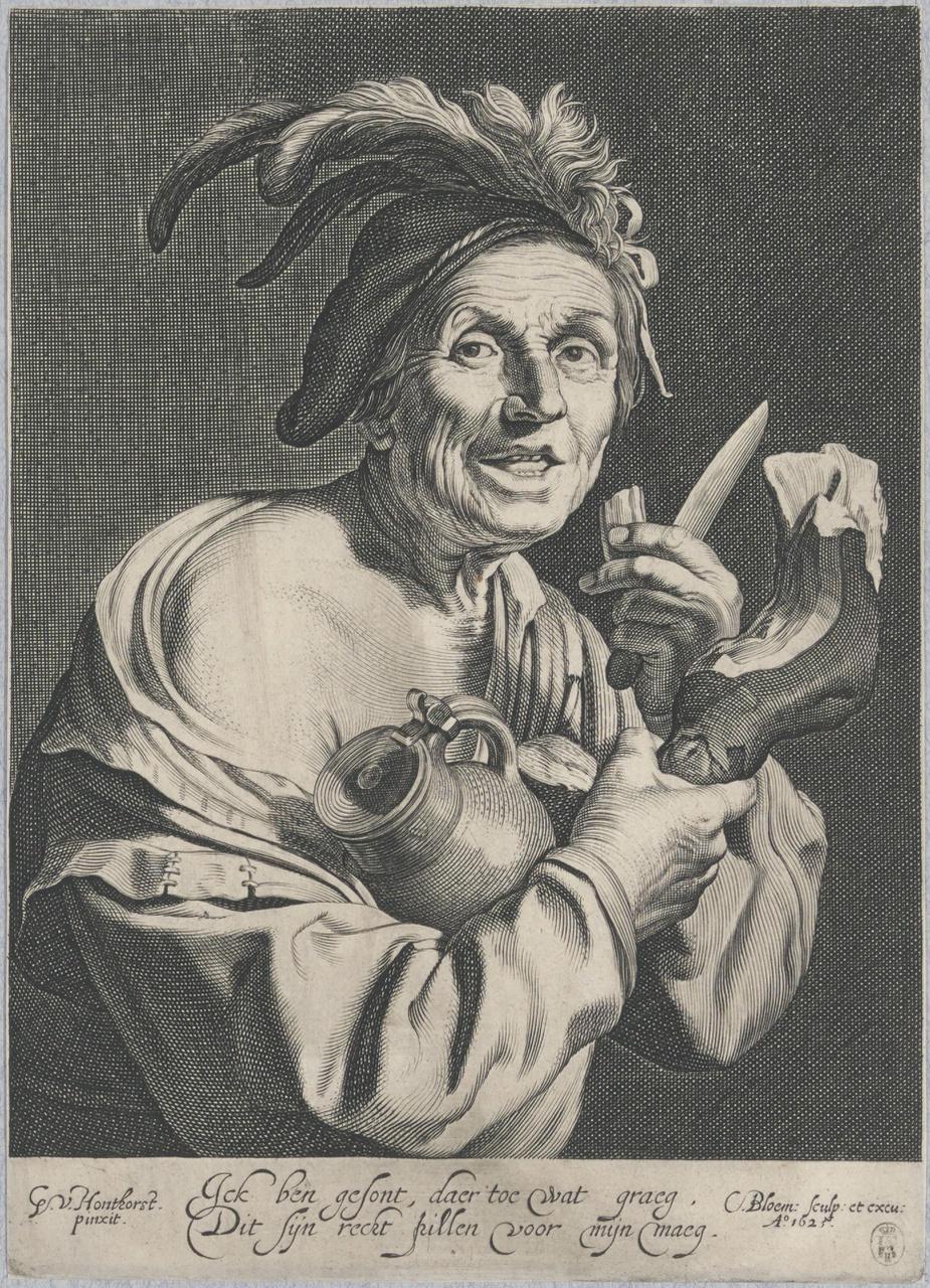 Man van een ham etend, met kruik