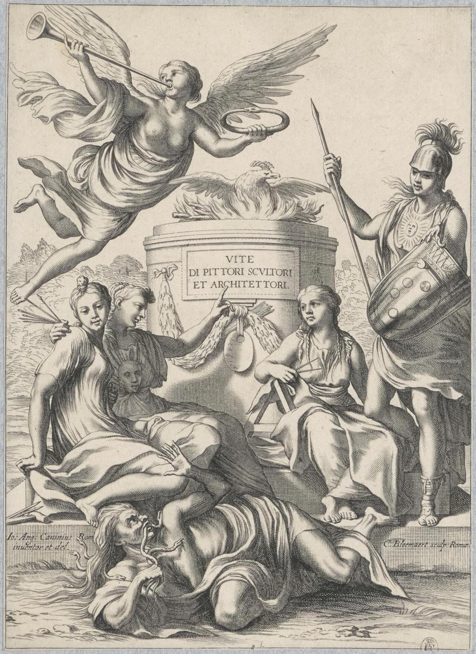 Allegorische voorstelling van Toscane die de architectuur en de schilder- en beeldhouwkunst beschermt (titelblad)