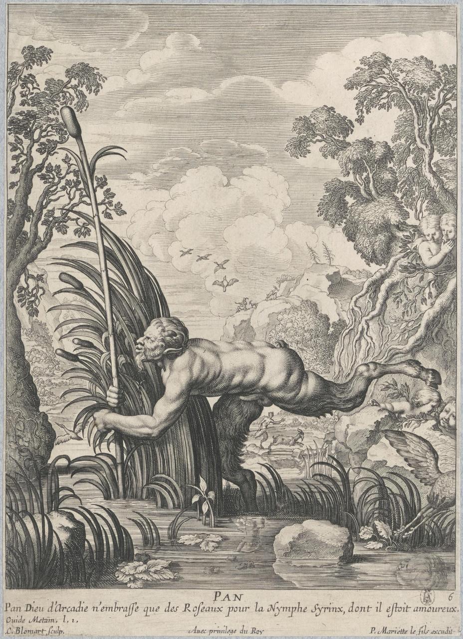 Pan omhelst de nimf Syrinx, die in een rietstengel is veranderd