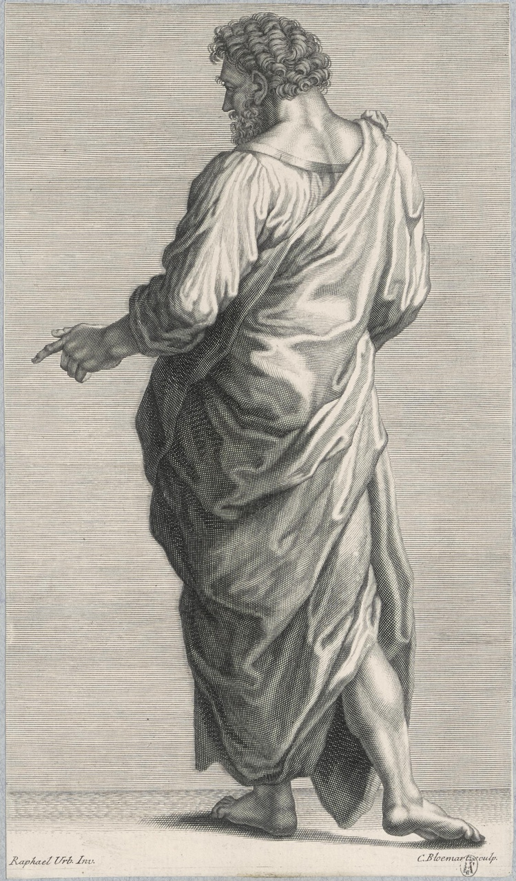 Staande man in toga op de rug gezien (suite de 5 estatue)