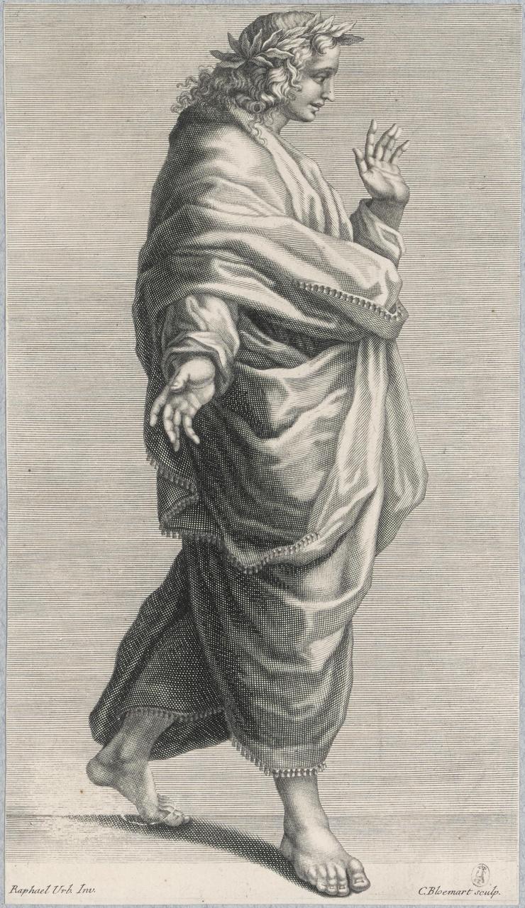 Schrijdende jongeling in toga, met lauwerkrans op het hoofd (suite de 5 estatue)