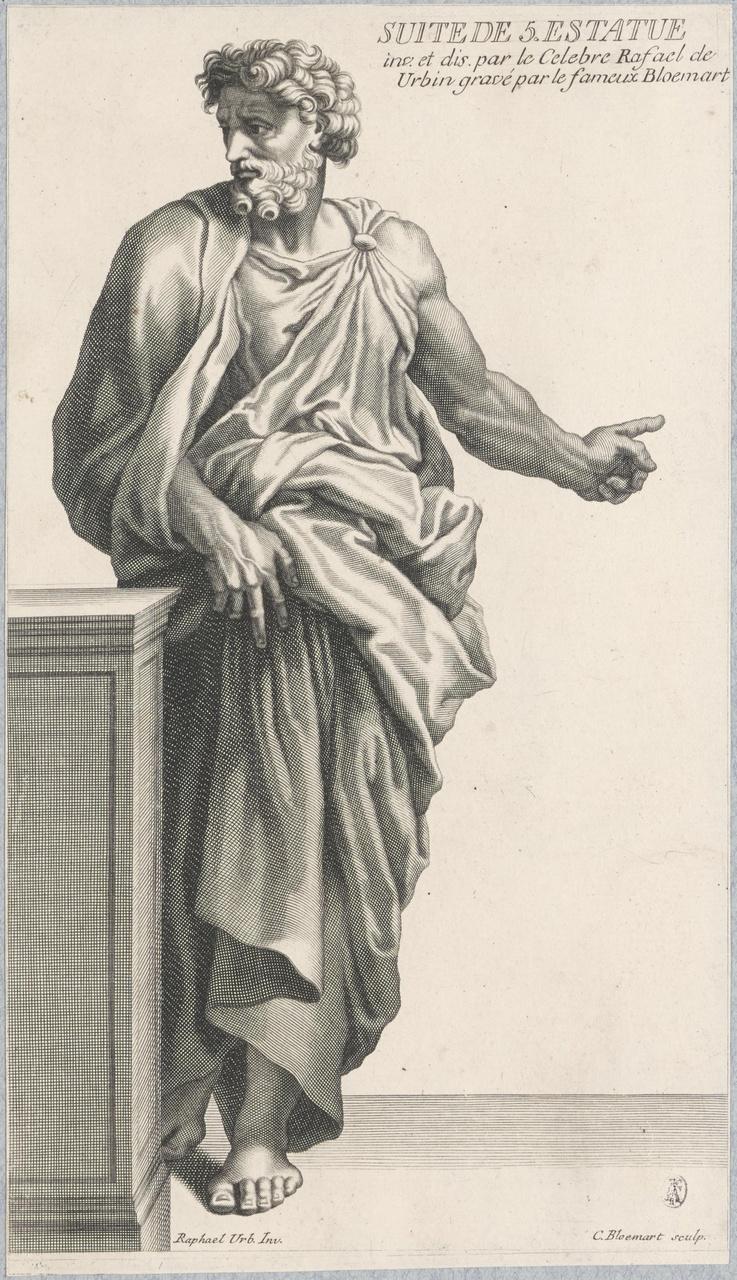Staande man in toga bij balustrade (suite de 5 estatue)