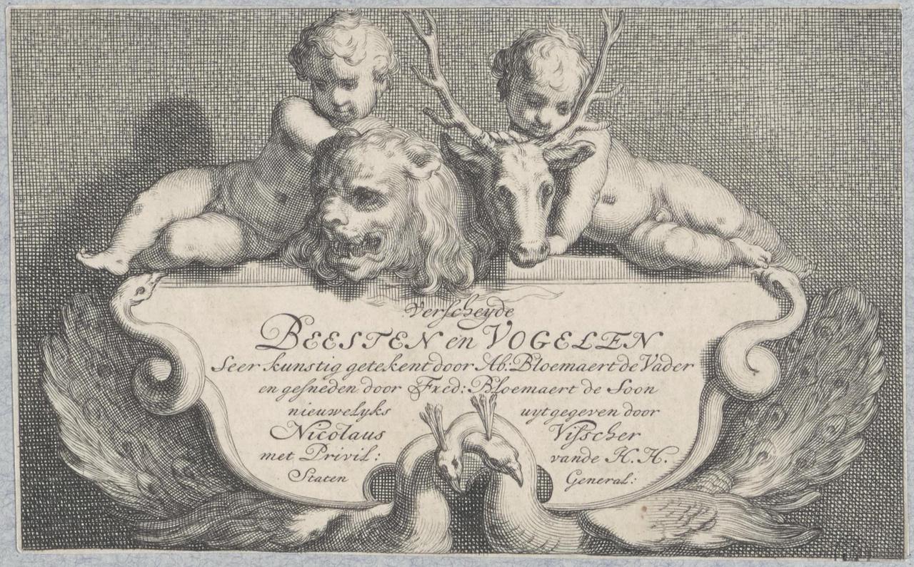 """Titelblad van serie van gravures """"Verscheyde beesten en vogelen"""""""