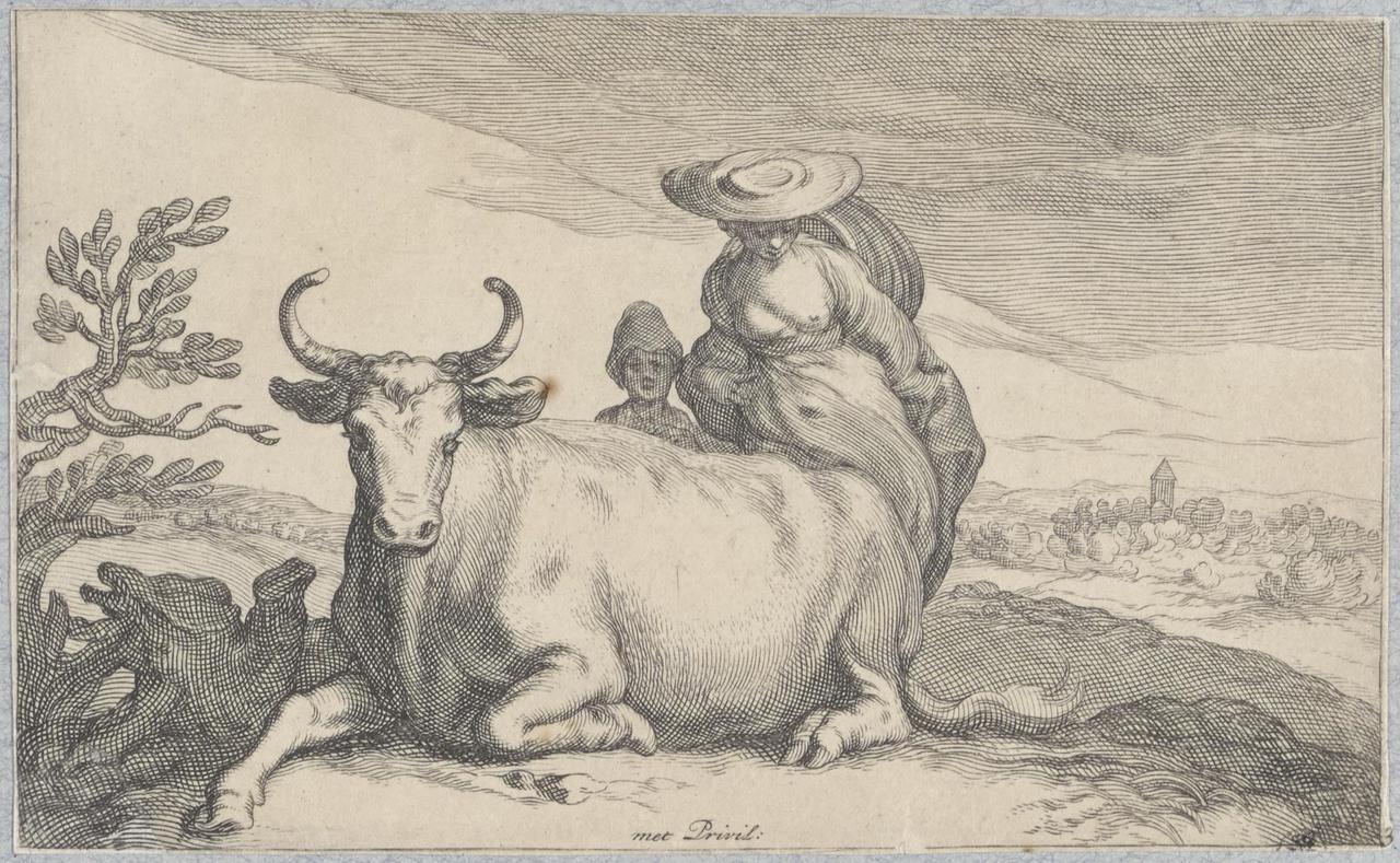 Herderin met koe