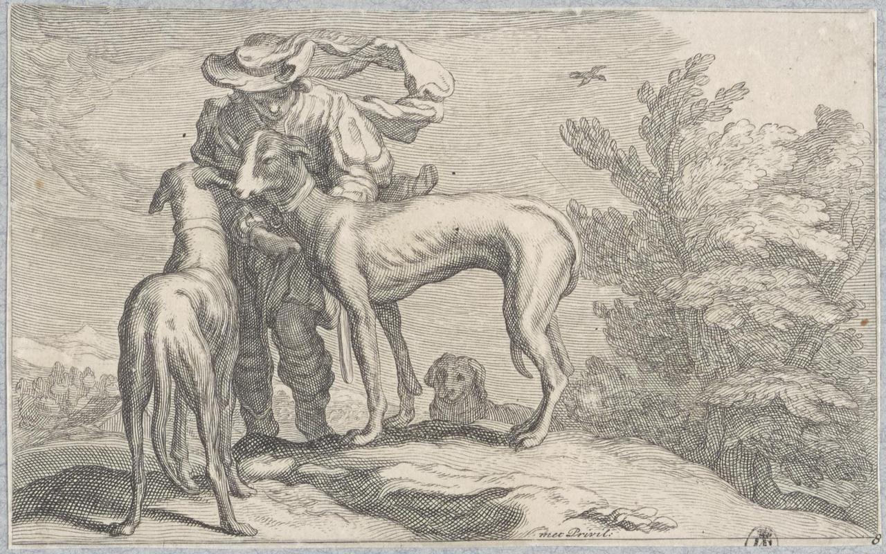 Jongen met jachthonden op heuveltop