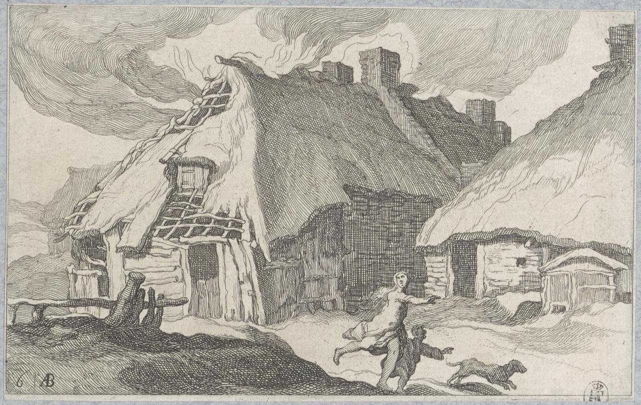 Vrouw en kind vluchtend van een brandende boerderij