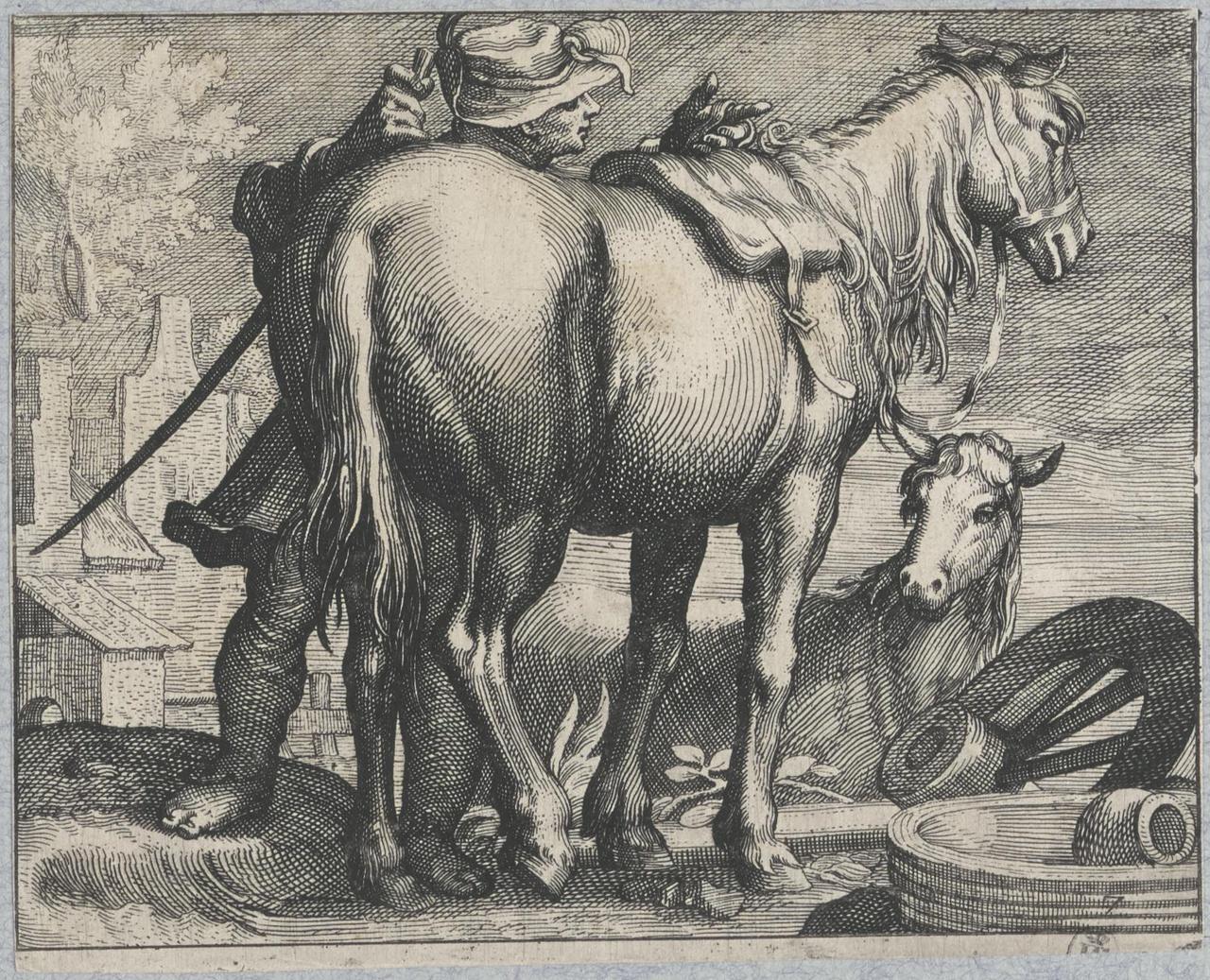 Ruiter en paard in landschap met een gebroken wagenwiel