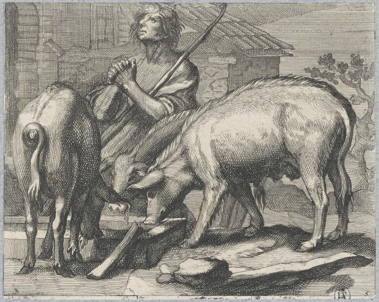 De verloren zoon aan de varkenstrog