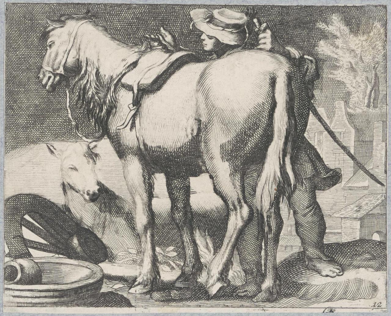 Ruiter en paard in landschap