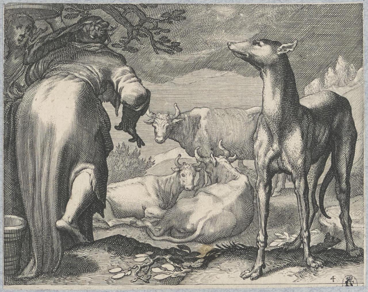Twee vrouwen en hond in een landschap met koeien