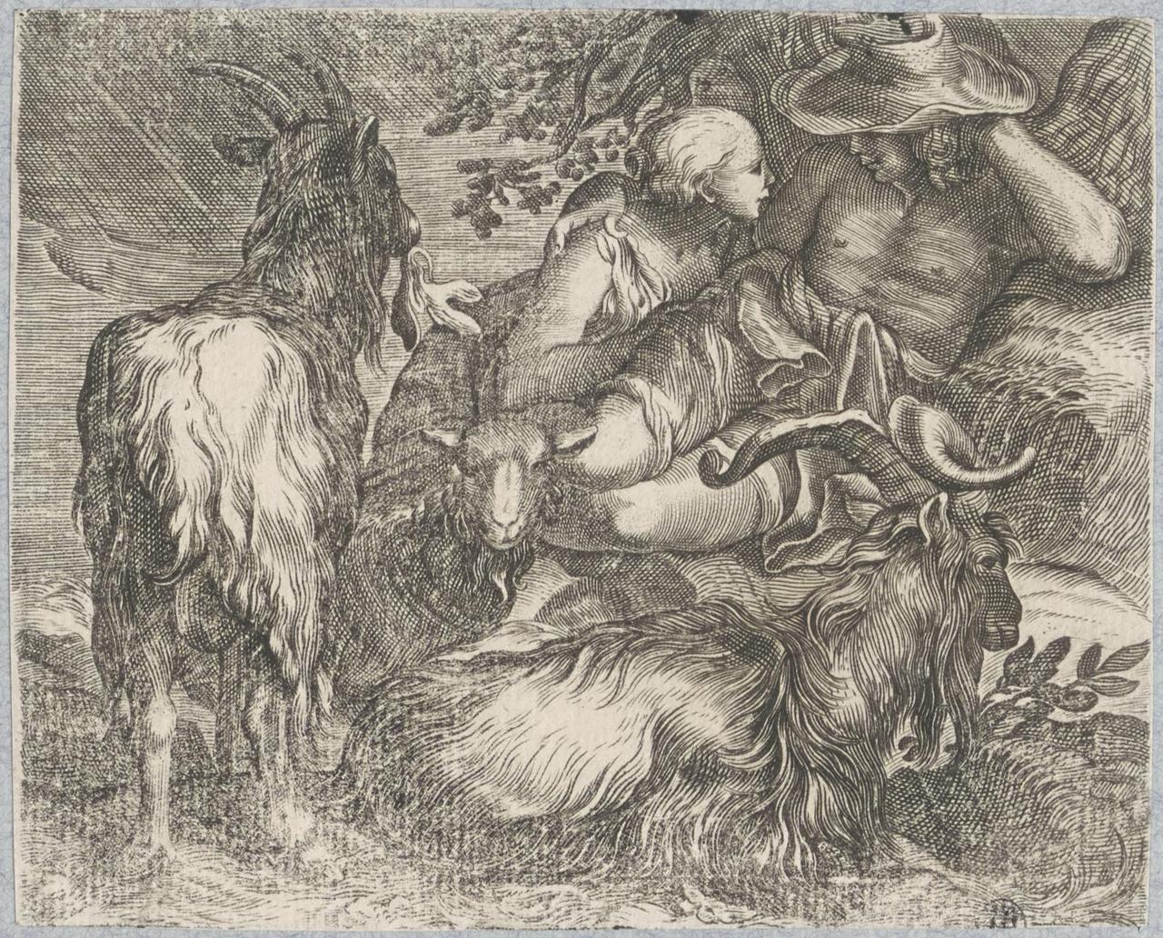 Minnekozend herderspaar bij hun kudde geiten en schapen