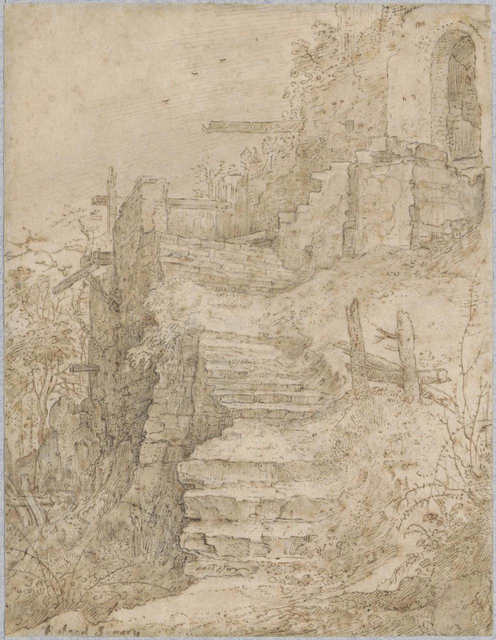 Vervallen stenen trap naar een ruïne