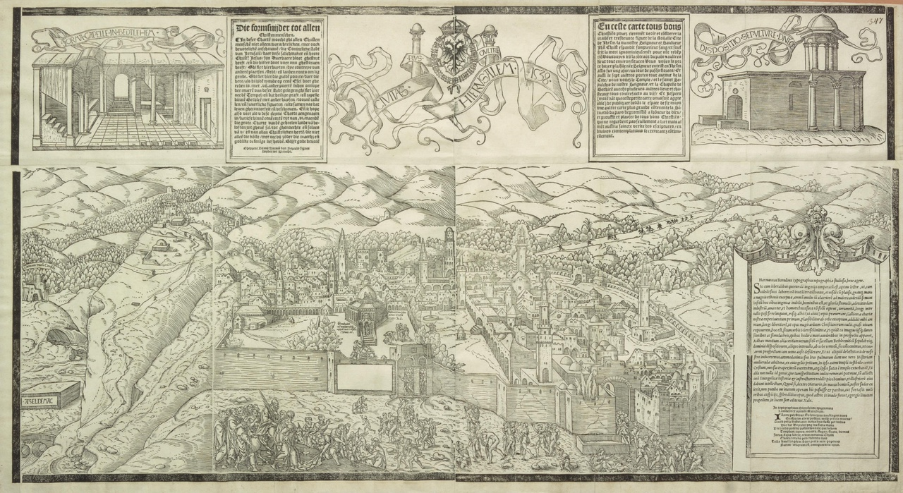 De intocht van Christus in Jeruzalem, de krypte te Bethlehem en het Heilig Graf (Civitas Hierusalem)