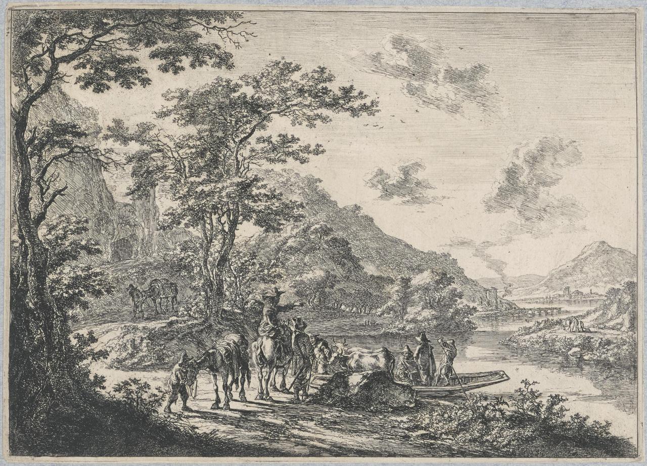 Het overzetveer op de Tiber in de Campagna
