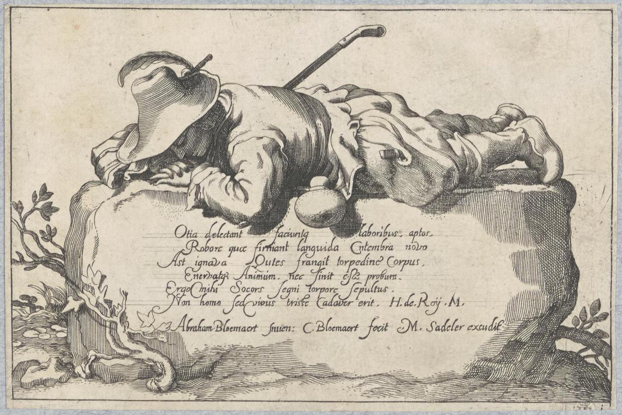 Liggende boer op een rots (titelblad); De Lof der Luiheid