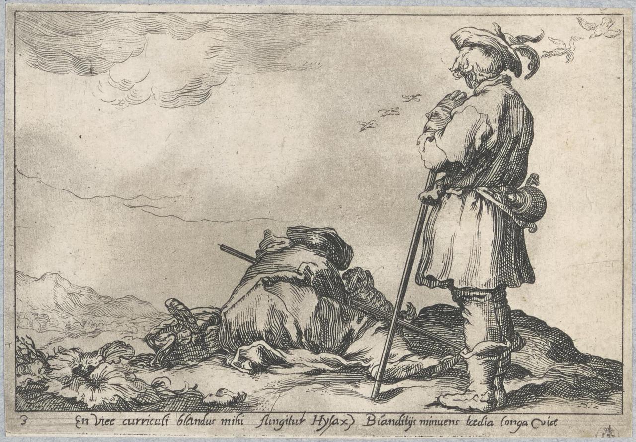 Een staande en een rustende herder; De Lof der Luiheid
