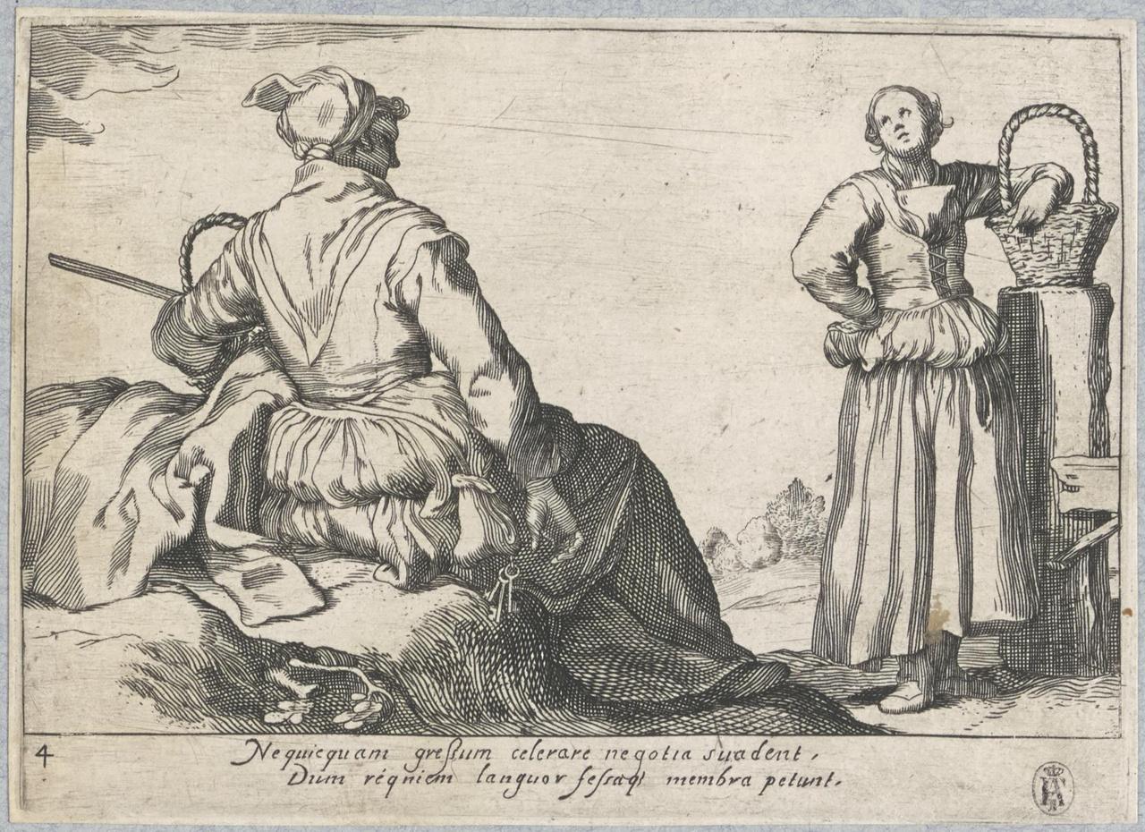 Een staande en een zittende vrouw met mand; De Lof der Luiheid