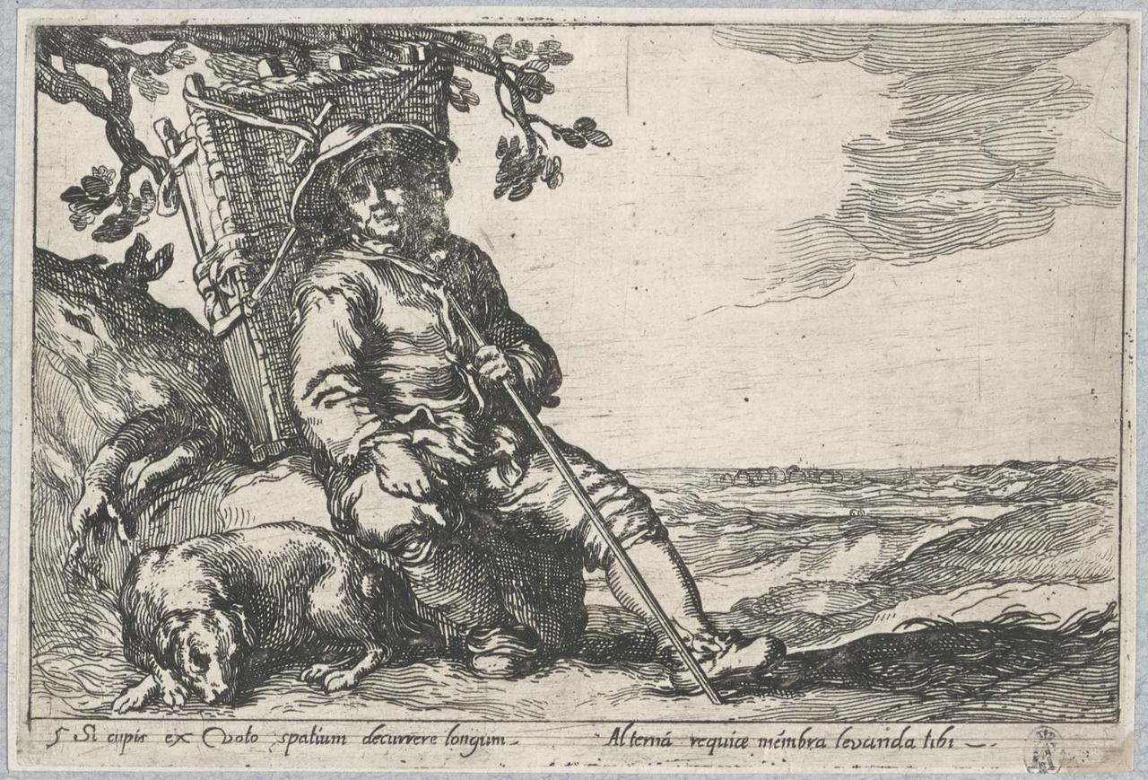 Marskramer met hond rustend onder een boom; De Lof der Luiheid