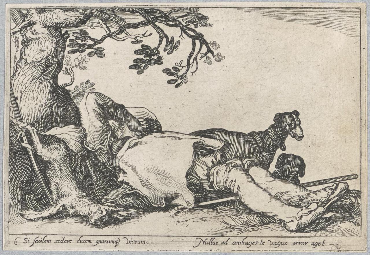 Jager slapend onder een boom; De Lof der Luiheid