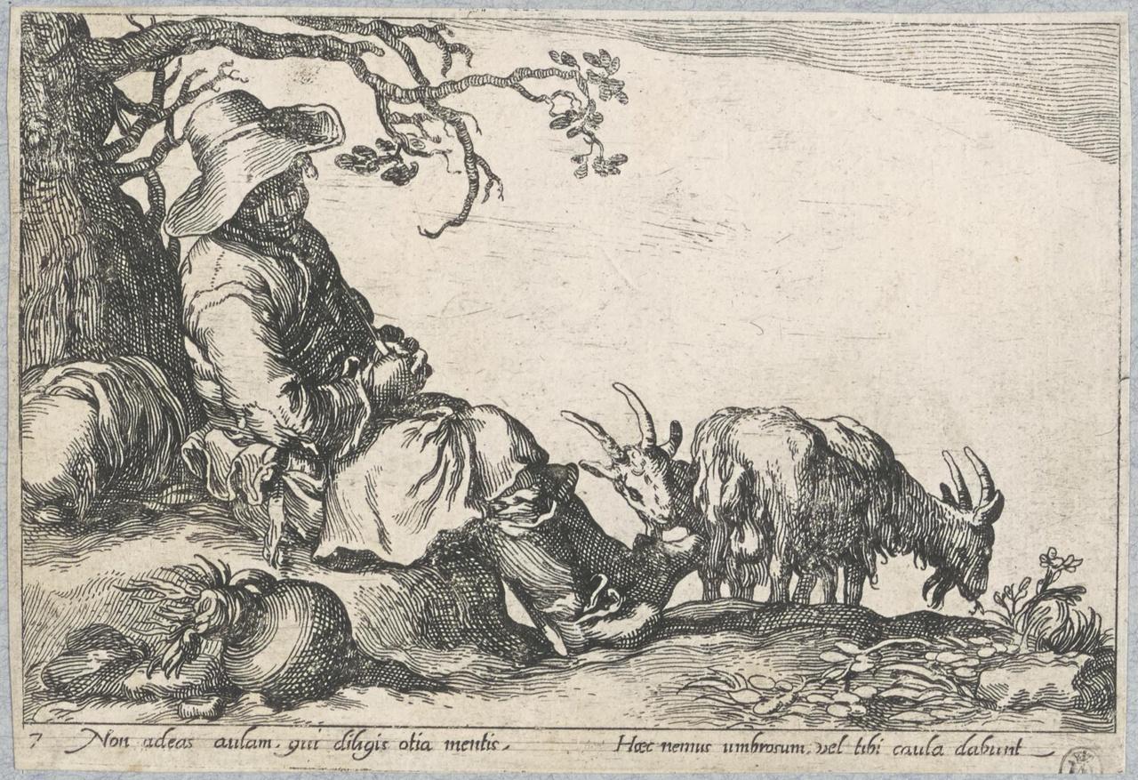 Herder met twee geiten rustend onder een boom; De Lof der Luiheid