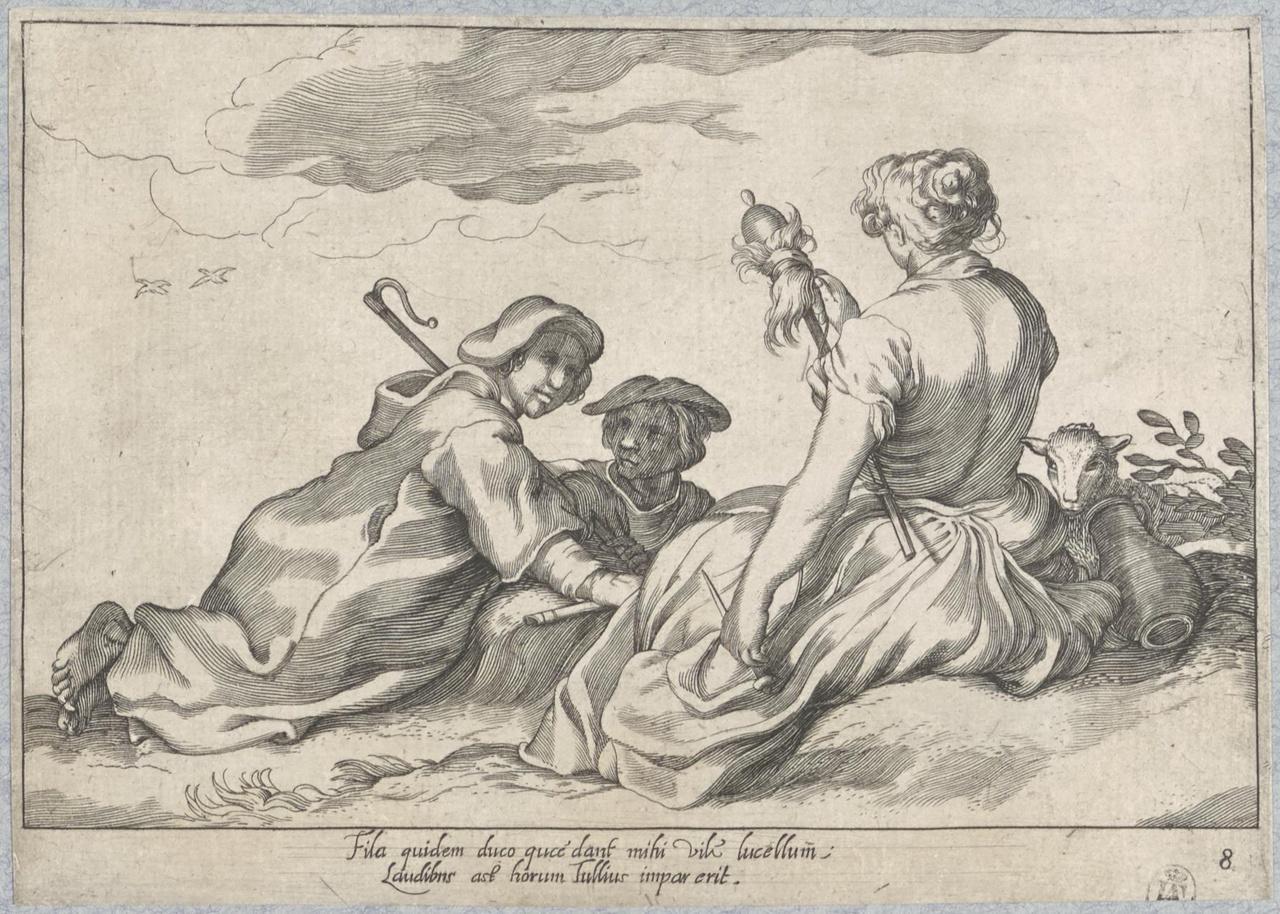 Twee schaapherders en een herderin met spinrokken; De Lof der Luiheid