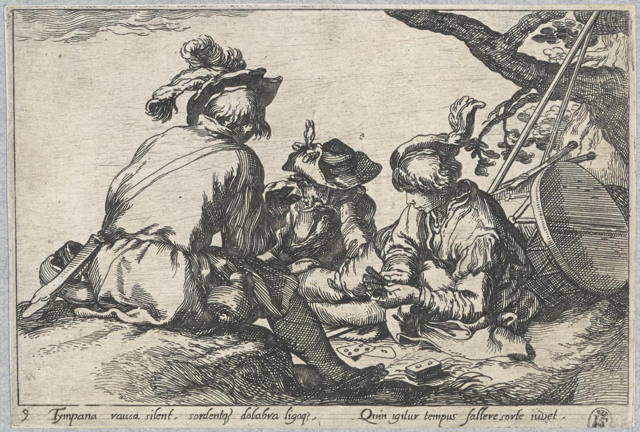Drie kaartspelende soldaten; De Lof der Luiheid