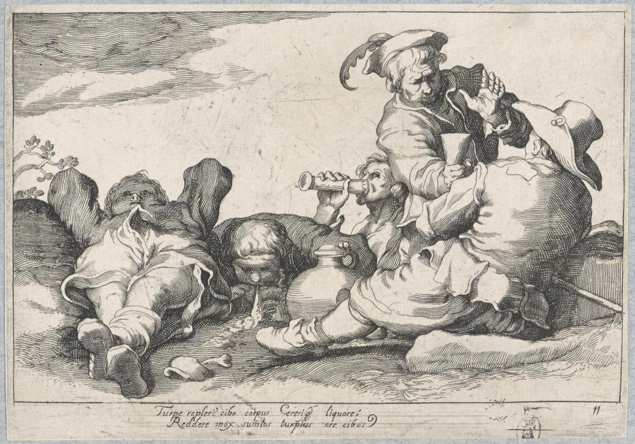 Vijf luierende en drinkende jongemannen; De Lof der Luiheid
