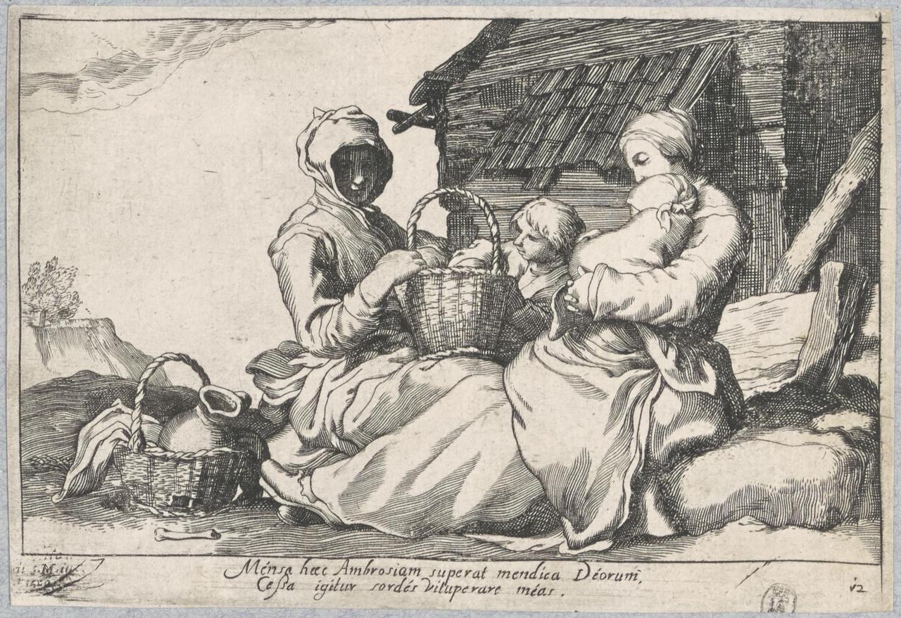 Twee vrouwen met kinderen bij een boerderij; De Lof der Luiheid