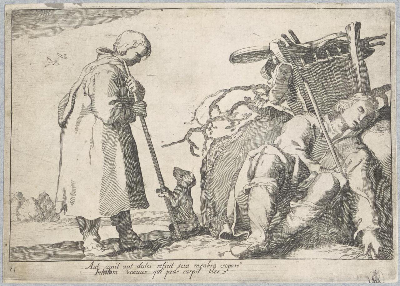Slapende marskramer en jongen met hond; De Lof der Luiheid