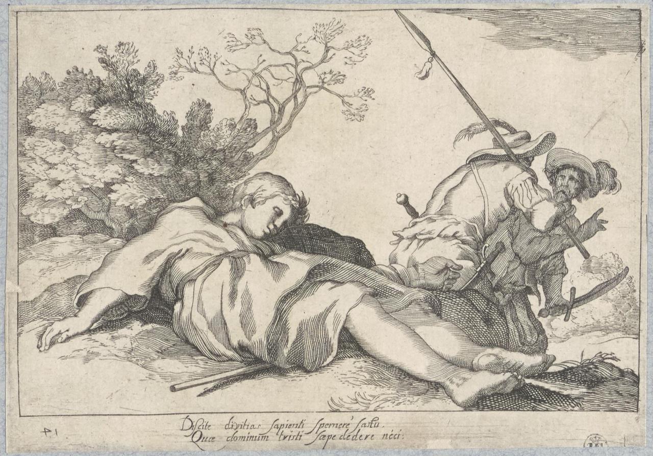 Beroofde jongeling en twee rovers; De Lof der Luiheid