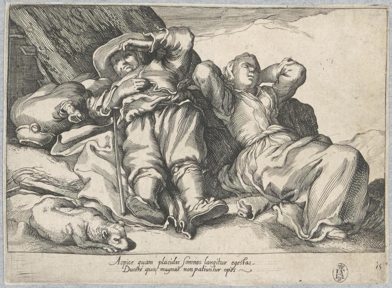 Slapende man en vrouw; De Lof der Luiheid