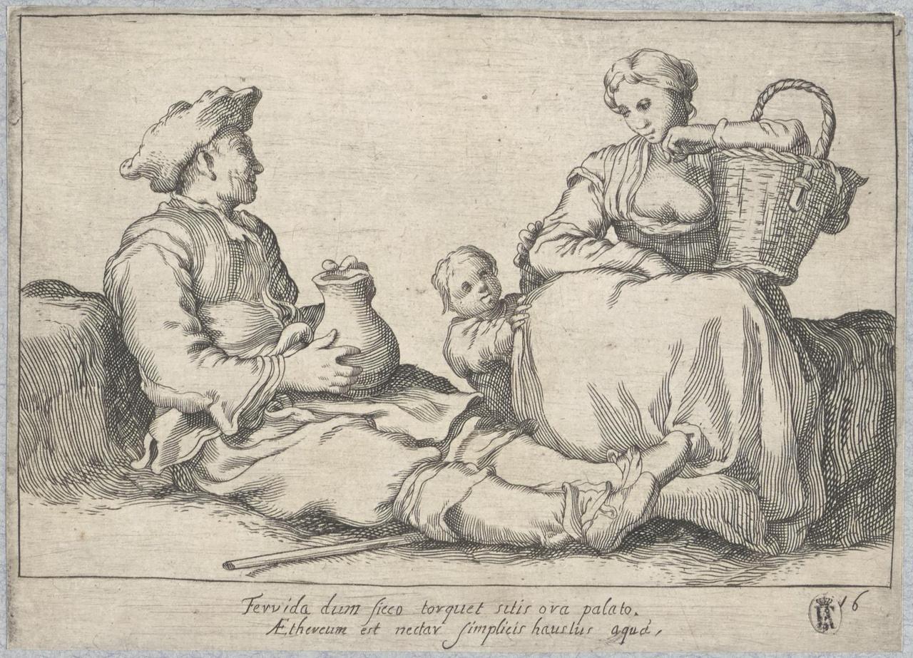 Man en vrouw met kind rustende aan de weg; De Lof der Luiheid