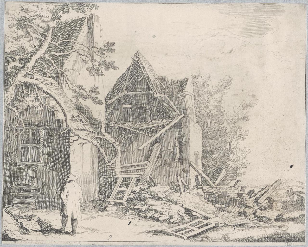 Groep van enkele huizen met de puinhopen van een instorting