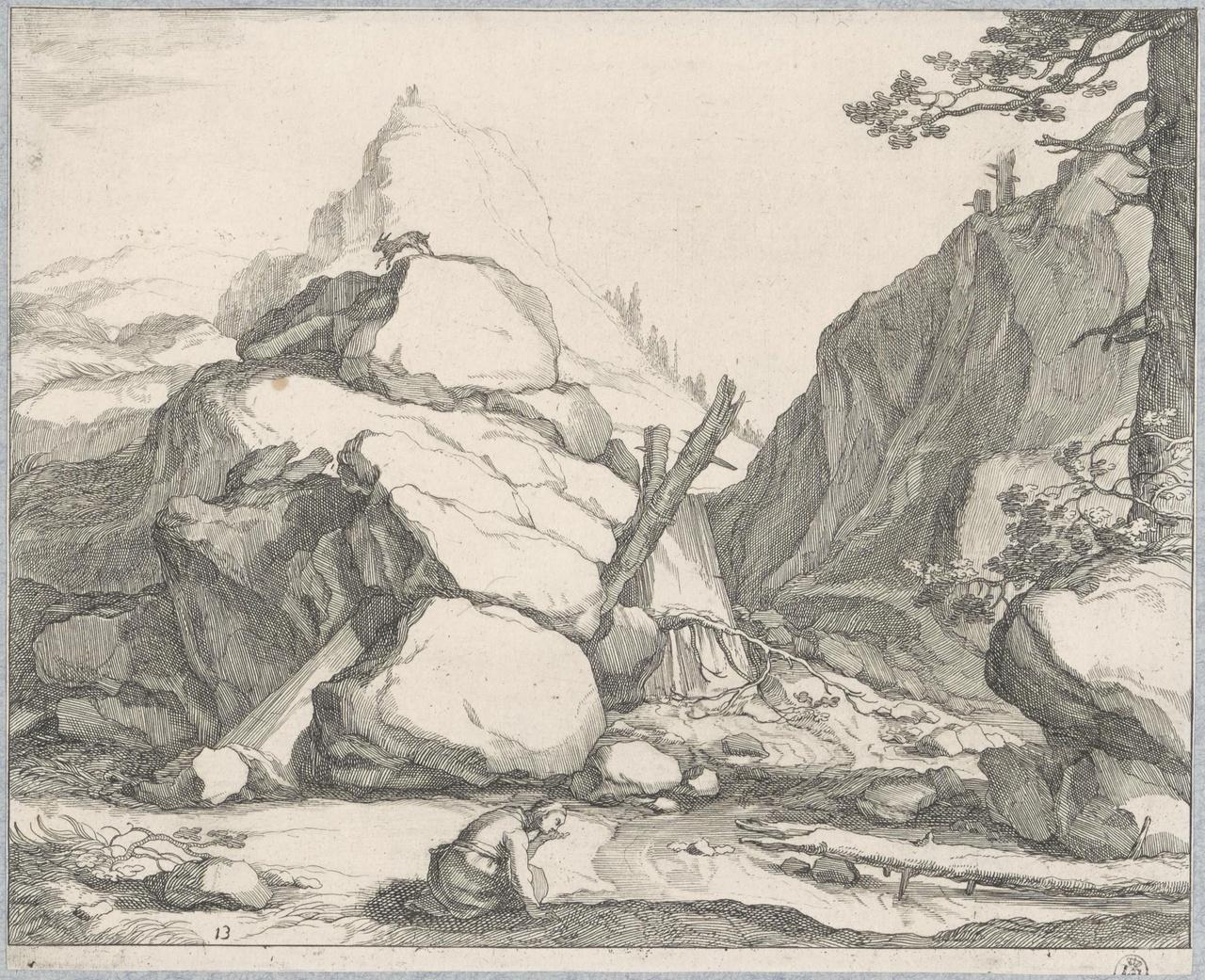 Geknielde vrouw drinkend uit een bergbeek