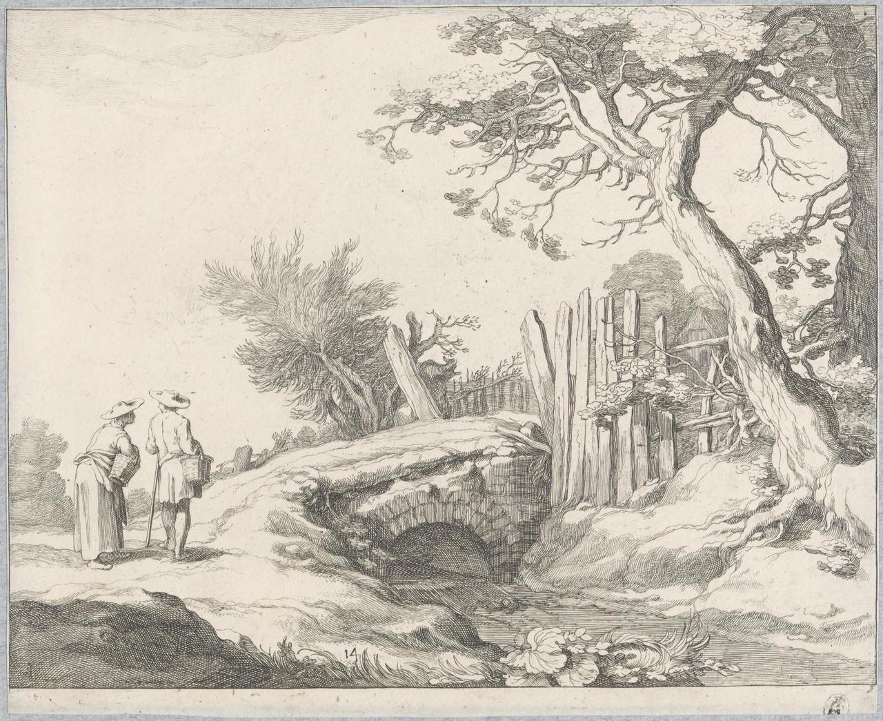 Boer en boerin bij een stenen brug
