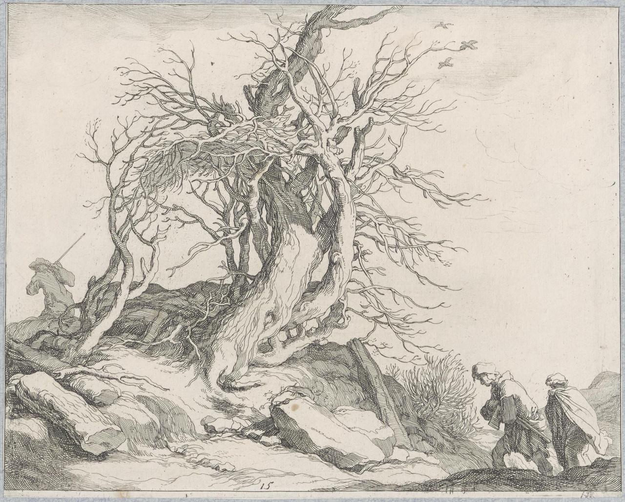 Twee houthakkers op weg naar een groep dode bomen