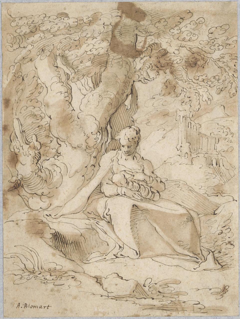 Maria met kind aan de voet van een boom