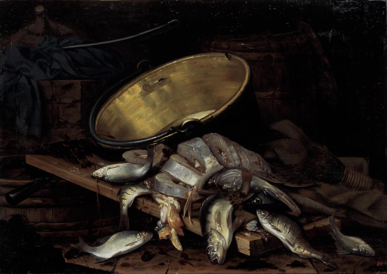 Stilleven met dode vissen