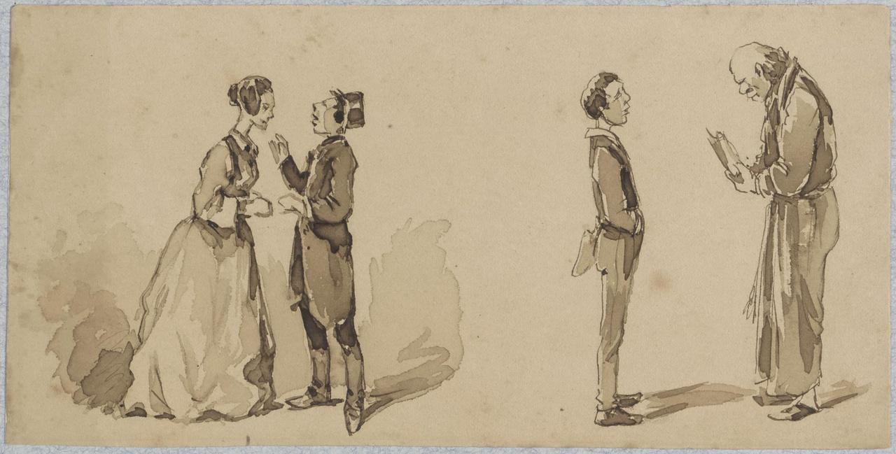 Vier figuren: een man en vrouw; een jongen en een oude man (studie)