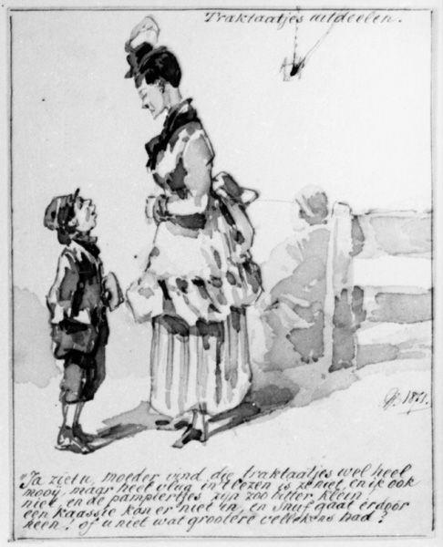 Vrouw met een jongen in gesprek. (Traktaatjes uitdeelen). In verso: schetsje van betogende man