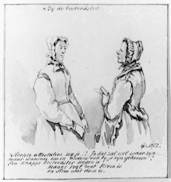 Twee vrouwen in gesprek (Bij de besteedster)