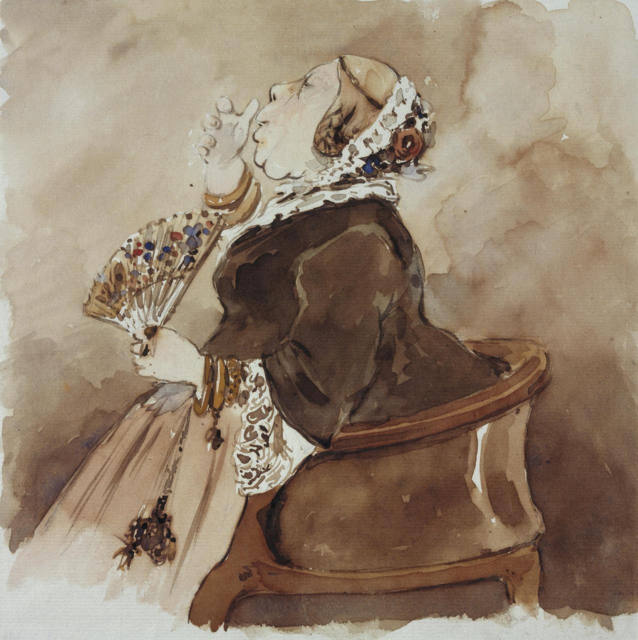 Karikatuur van Florentine Jacobine Martine Rethaan Macaré-Ontijd (1812-1887)