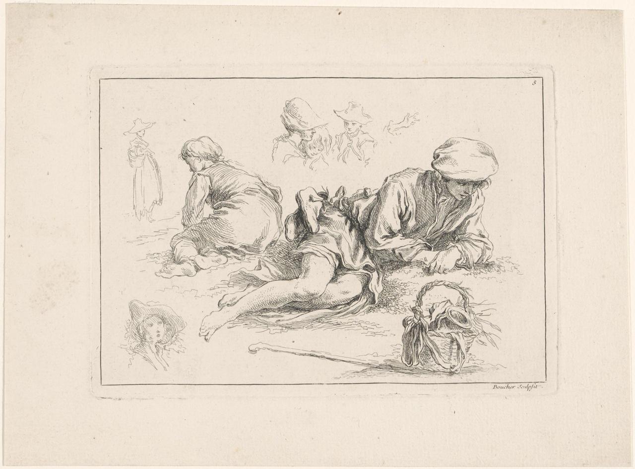 Rustende herder en vier schetsen van andere figuren