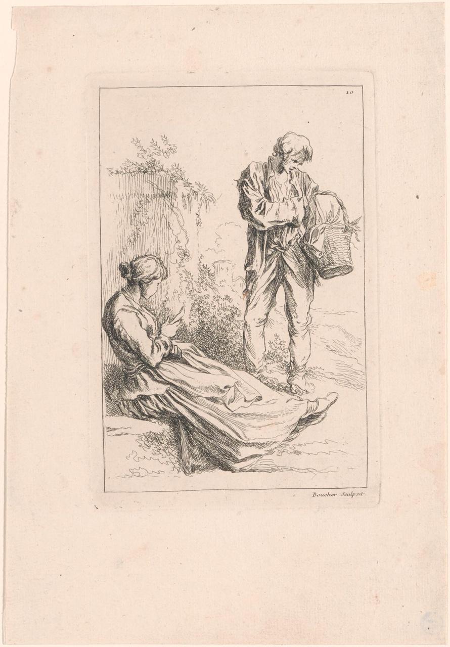 Zittende jonge vrouw en staande man