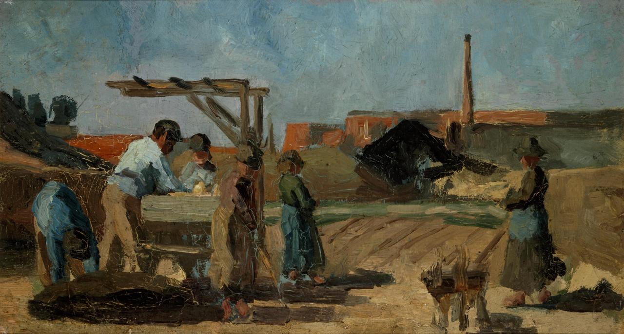 Fabrieksterrein met arbeiders